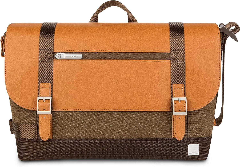 "Moshi Carta Messenger Bag for 13"" Laptop, Ultra-Lightweight & Durable, Polyester, Nylon, and Vegan Leather, Weather-Resistant, RFID Shield Pocket, Vintage Brown"
