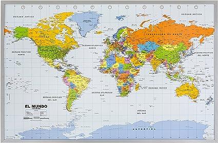 Mapa Político del Mundo sobre Respaldo de corcho, en Español 1:46 ...