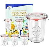 6er Set Original WECK 3/4-Liter Sturzglas, 850 ml, Rundrandglas RR100 + Glasdeckel + Dichtring + Weck-Klammern + GRATIS Rezeptheft, Einmachglas, Einkoch-Set, Einlegen, Einwecken + Konservieren, Weck-Glas klar