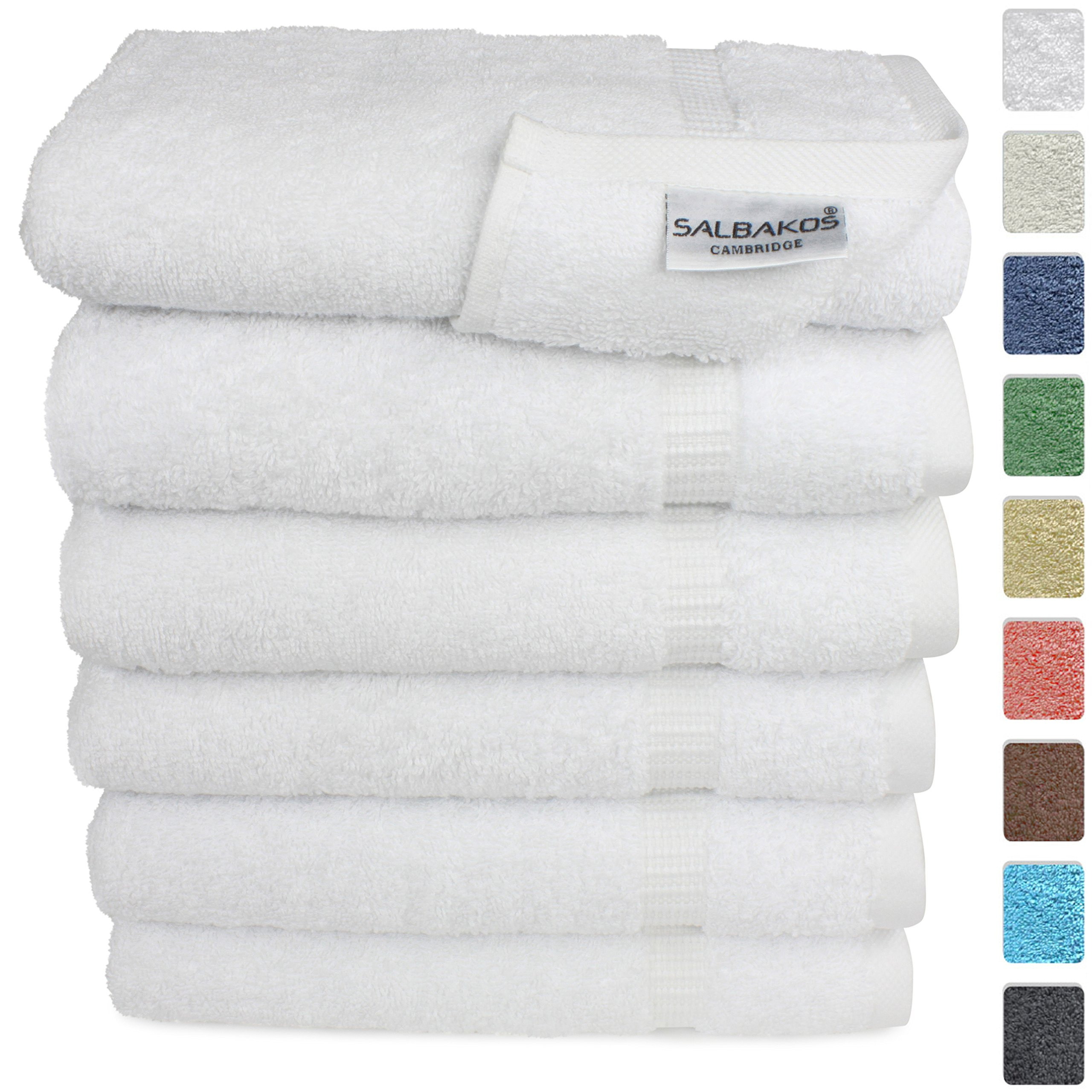 SALBAKOS Hand Towels for Bathroom - White Cotton - 6 Bulk Pack Turkish Cotton - Luxury Hotel & Spa Quality - 700gsm OEKO-TEX Organic + Eco-Friendly (White) by SALBAKOS