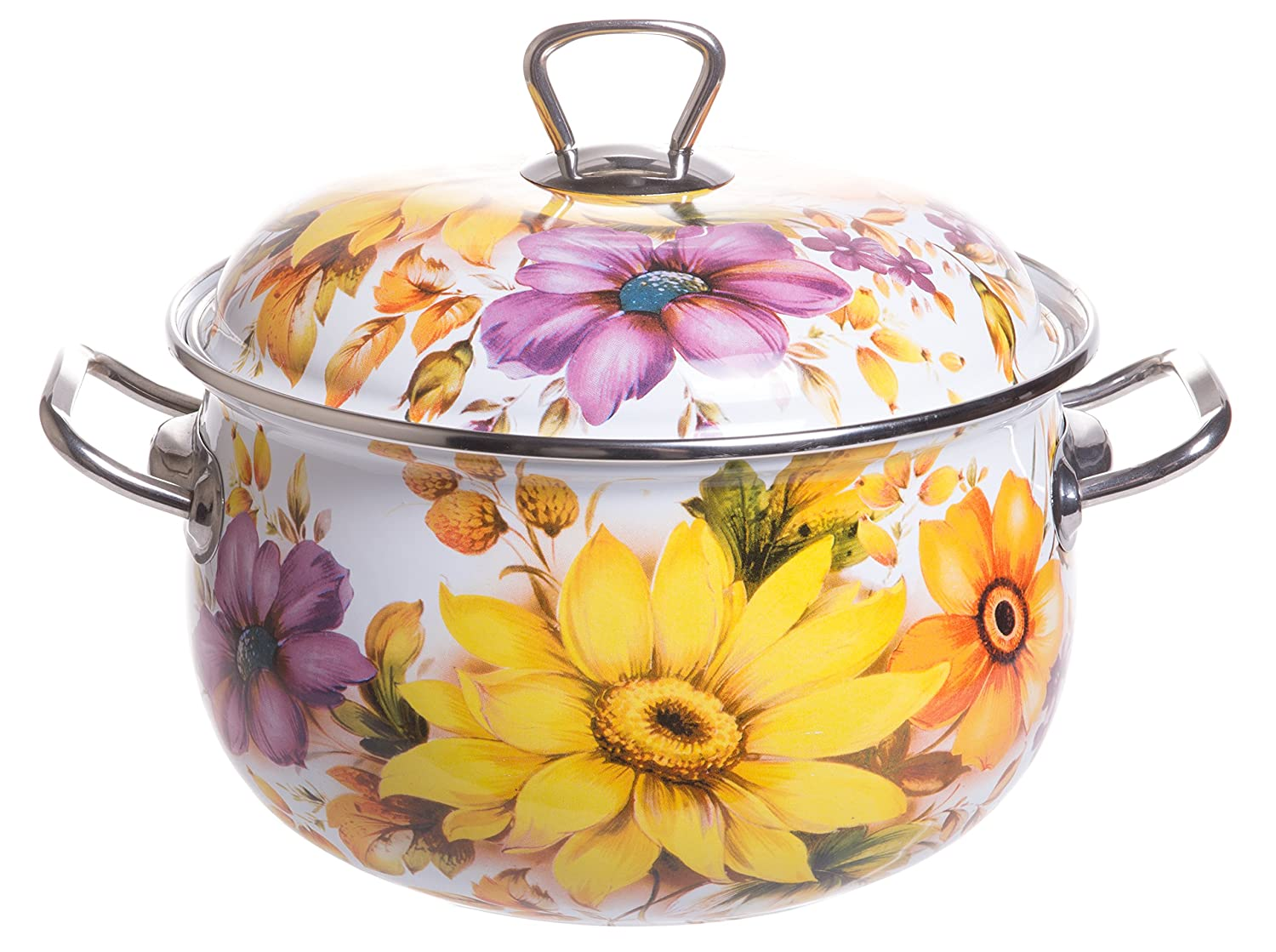Red Co. Enamel On Steel Round Covered Stockpot, Pasta Stock Stew Soup Casserole Dish with Sunflower Lid, Up to 4 Quarts - 20 cm