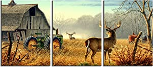 Canvas Print Wall Art Painting pictures of Nature Trees Fences Birds Fog Mist Deer Barn Farm Competition Paintings The Picture For Living Room Decoration Animals Pictures Photo Prints On Canvas