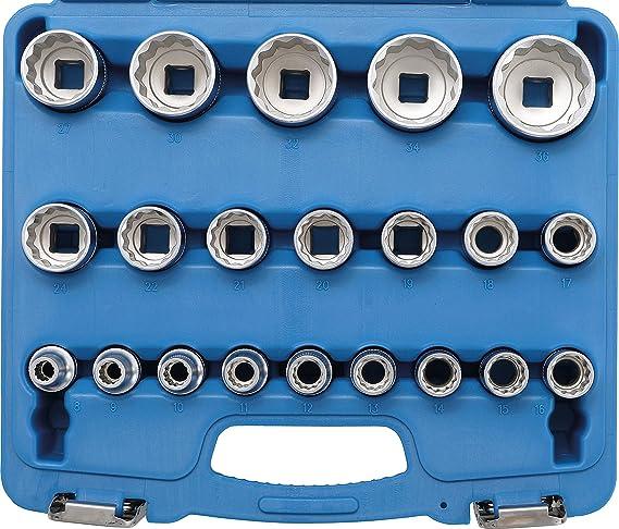   six pans int/érieurs 7//32-13//16 1//2 Jeu de douilles /à embouts BGS 5053 11 pi/èces en pouce 12,5 mm