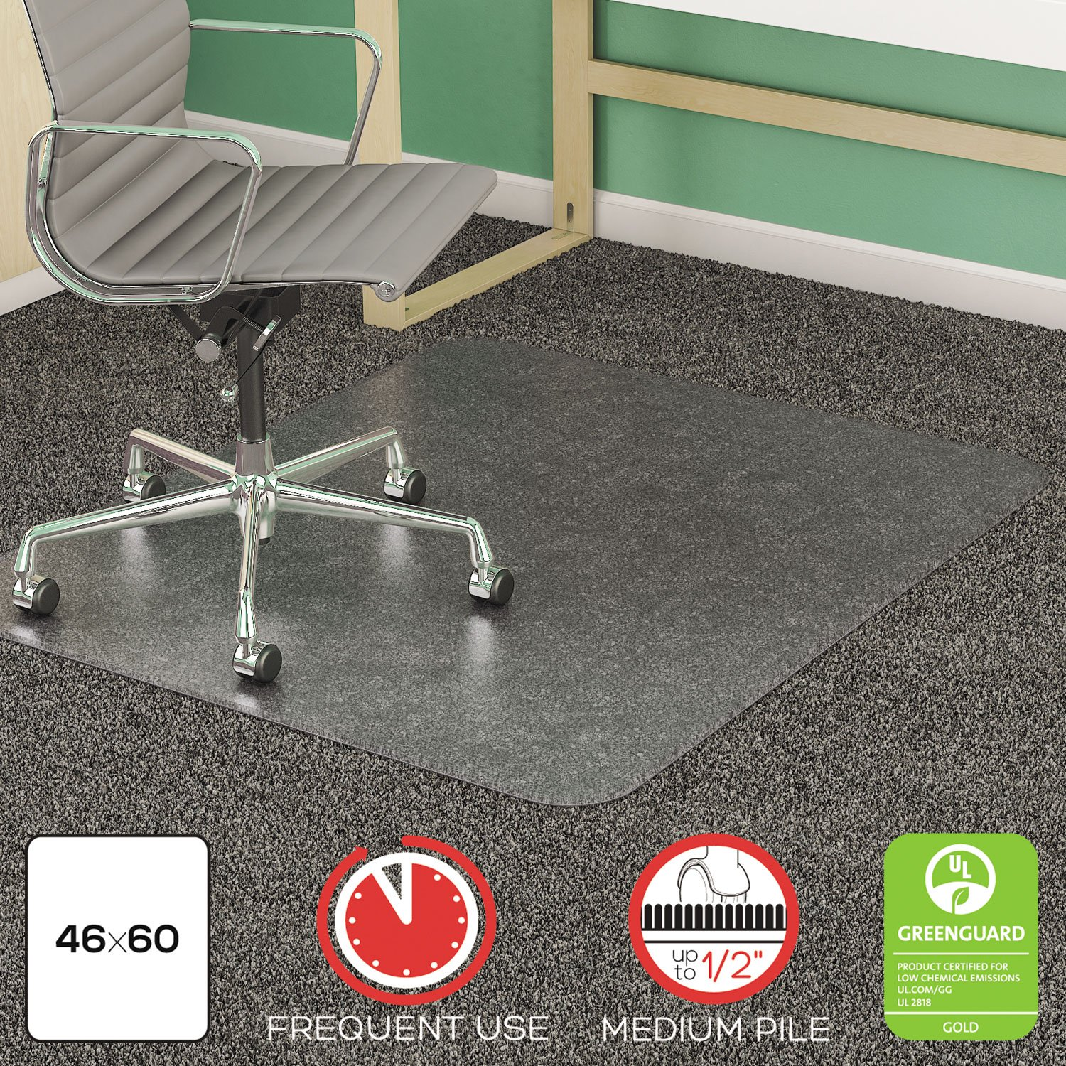deflecto SuperMat Frequent Use Chair Mat Medium Pile Carpet Beveled 46 x 60 Clear by Deflect-O