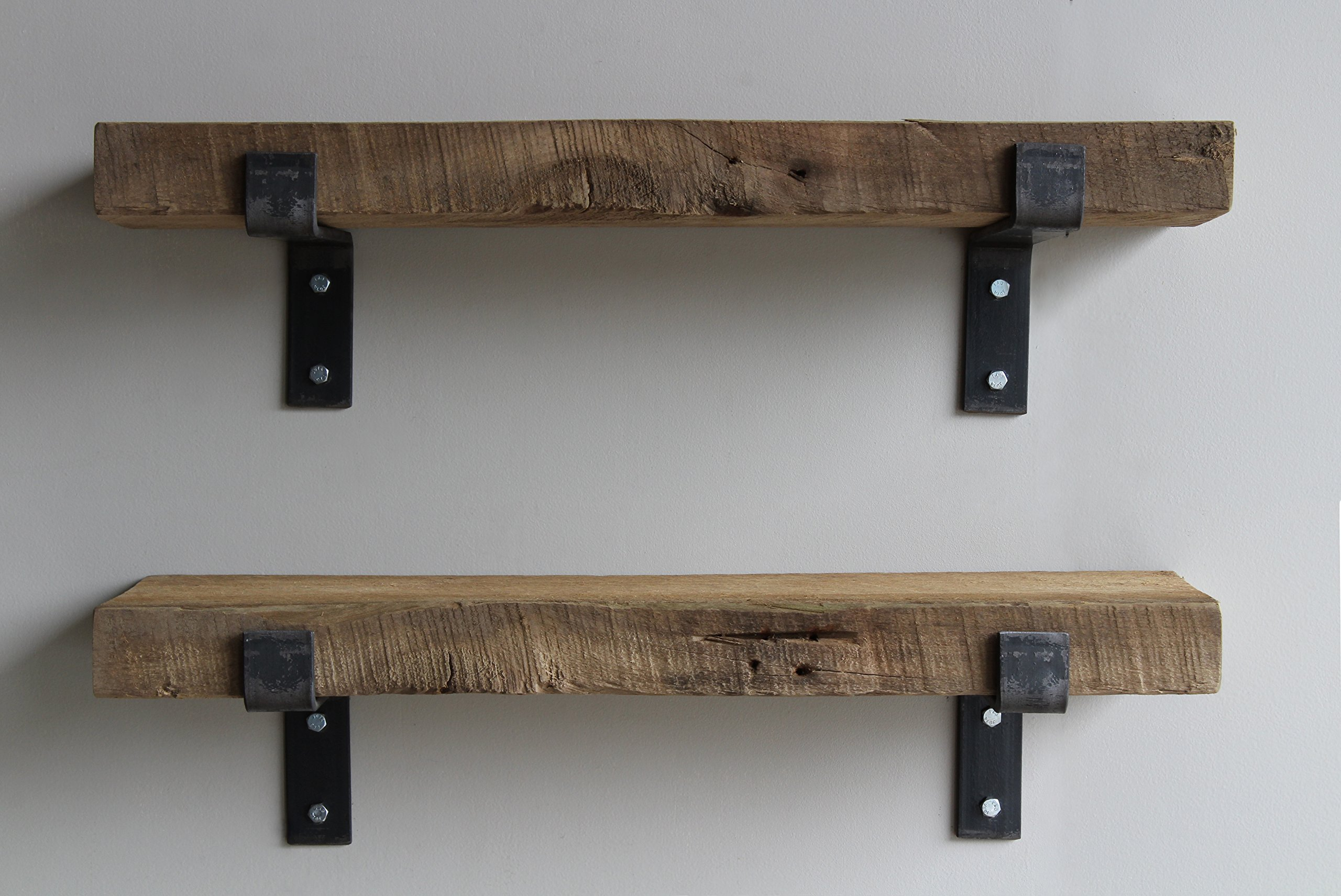 Reclaimed Wood Accent Shelves Rustic Industrial - Amish Handcrafted in Lancaster County, PA - Set of Two | 24 Inches, (Genuine Salvaged/Reclaimed with Raw Metal Brackets) (Natural 24''x 7''x 2'') by Urban Legacy (Image #7)