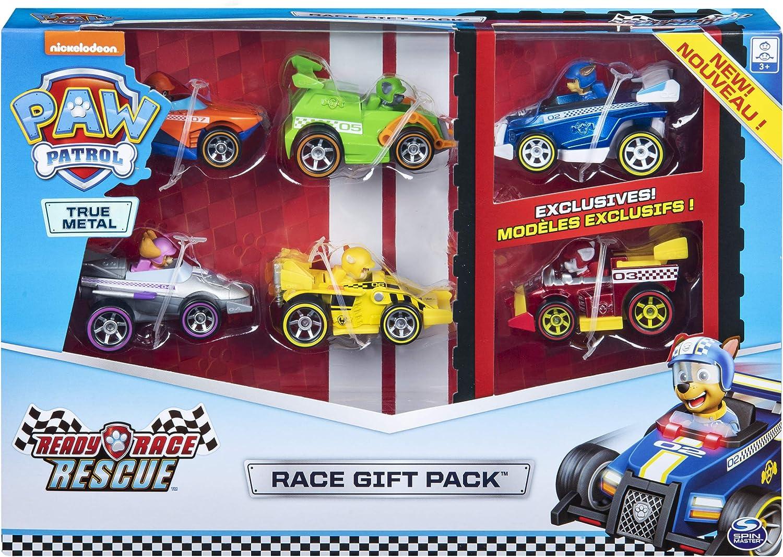 PAW PATROL- True Metal Ready Rescue Gift Pack of 6 Race Car Collectible Die-Cast Vehicles, 1:55 Scale Pack de 6 vehículos coleccionables a presión, Escala, Multicolor (Spin Master 6054522): Amazon.es: Juguetes y juegos