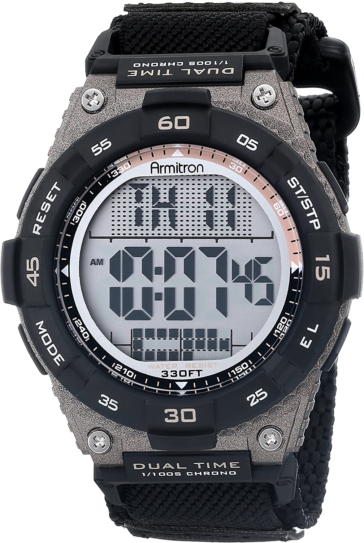 Armitron Sport Men s 40 8330BLK Brown Accented Digital Chronograph Black Nylon Strap Watch