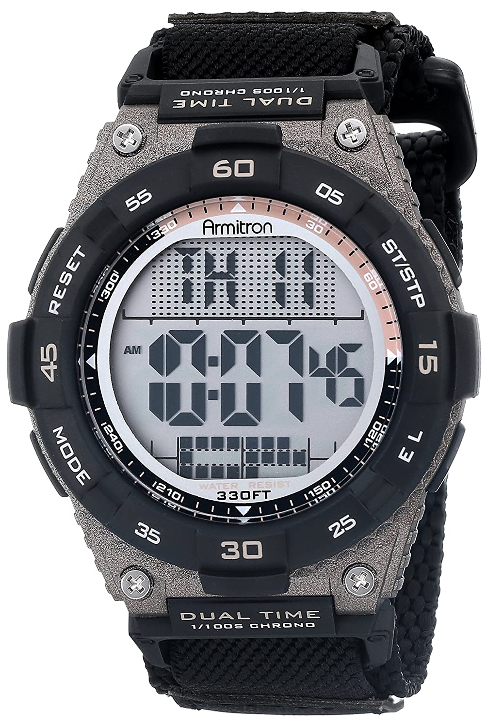 Armitron Sport Mens 40/8330BLK Brown Accented Digital Chronograph Black Nylon Strap Watch