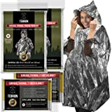 """TEBRION 4 Packs Set: 2 x Reusable Waterproof Thermal Raincoat and 2 x Reusable Extra Large Size (63"""" x 82"""") Authentic…"""