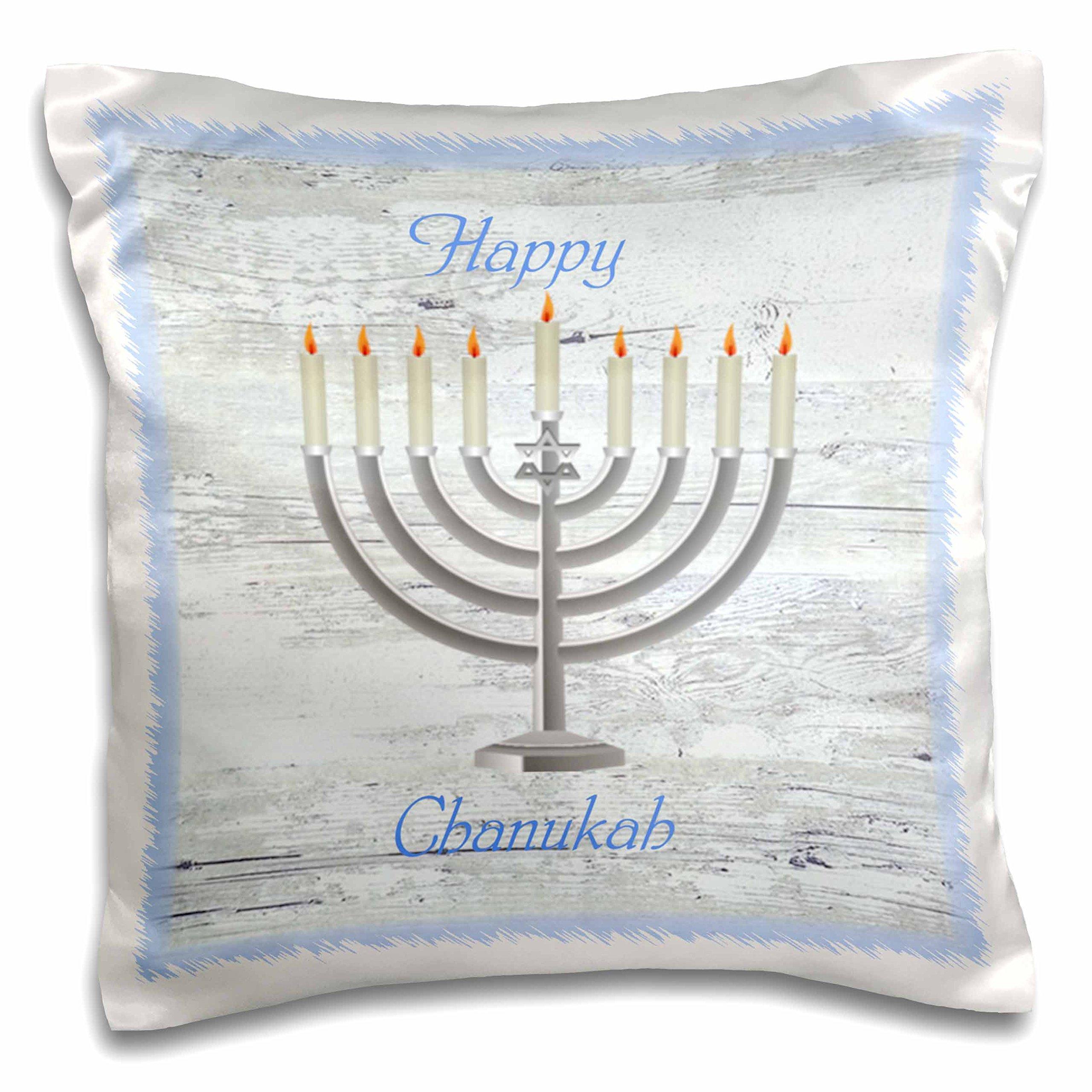 3D Rose Image of Chanukah Menorah on White Washed Wood Pillow Case, 16'' x 16''