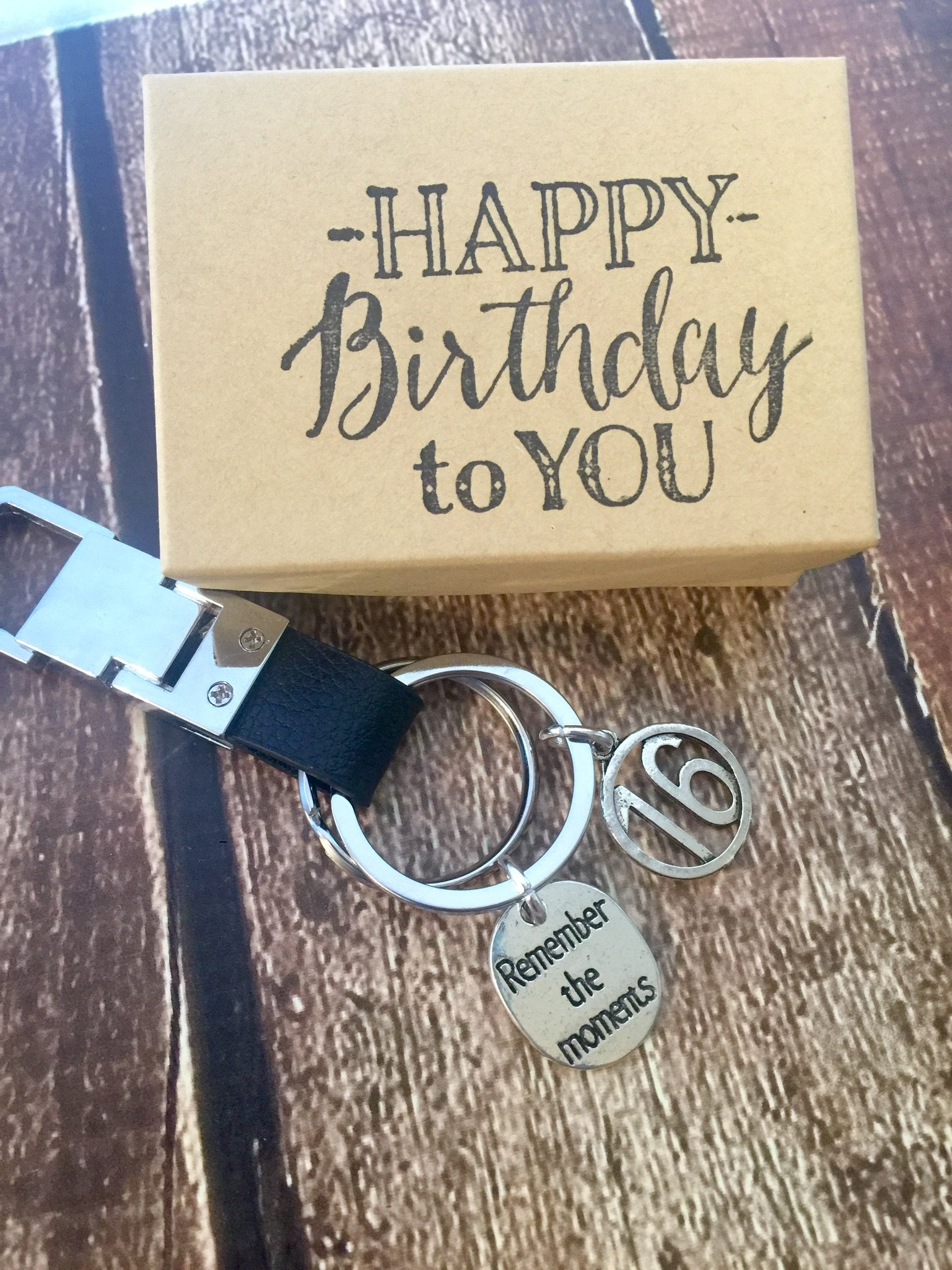 Black Leather 16th Birthday Genuine Leather Key Chain with Gift Packaging for Boy or Girl