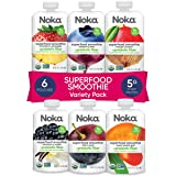 NOKA Superfood Smoothie Pouches (Variety) 6 Pack, 100% Organic Healthy Fruit And Veggie Squeeze Snack Packs, Meal Replacement
