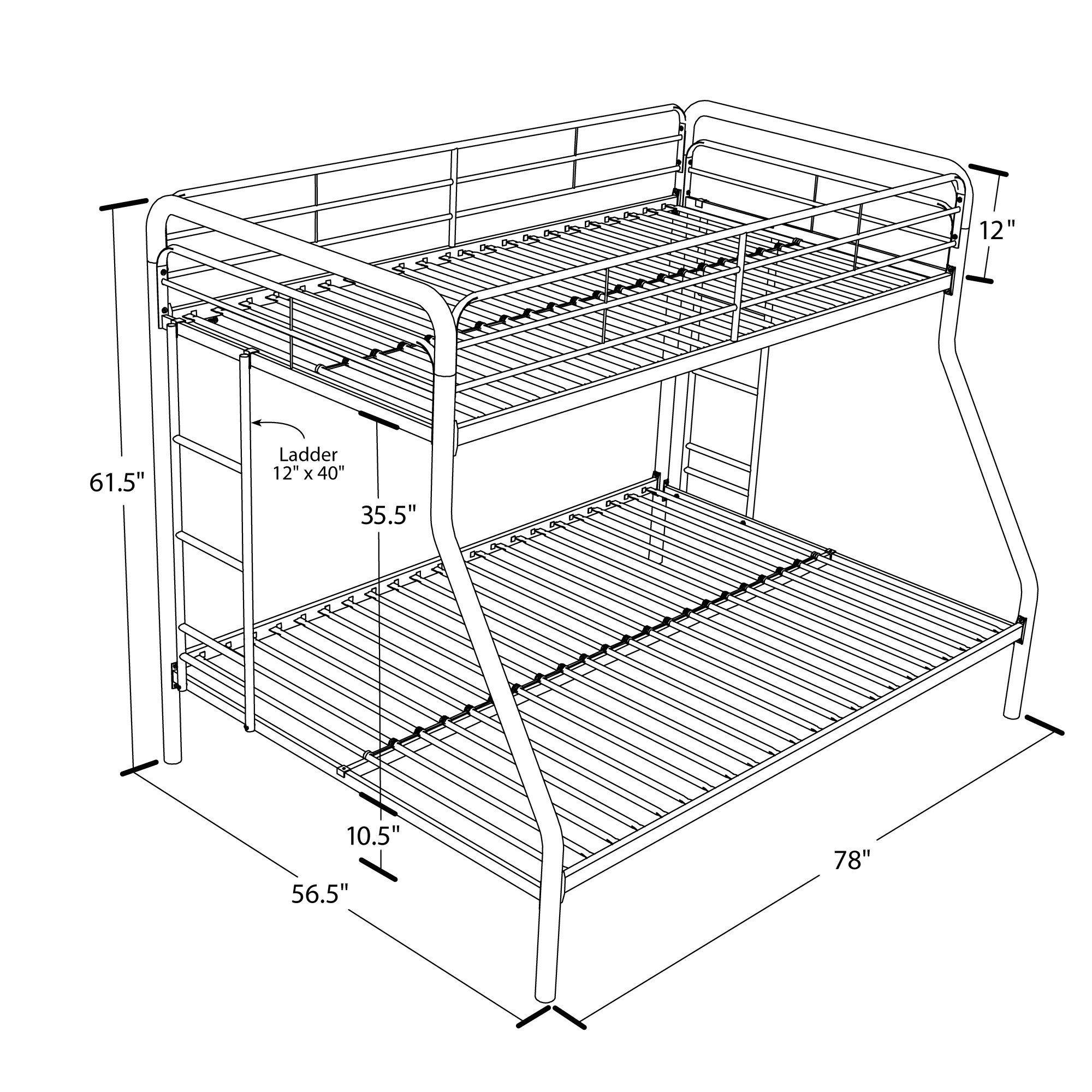 DHP Twin-Over-Full Bunk Bed with Metal Frame and Ladder, Space-Saving Design, Black by DHP (Image #6)