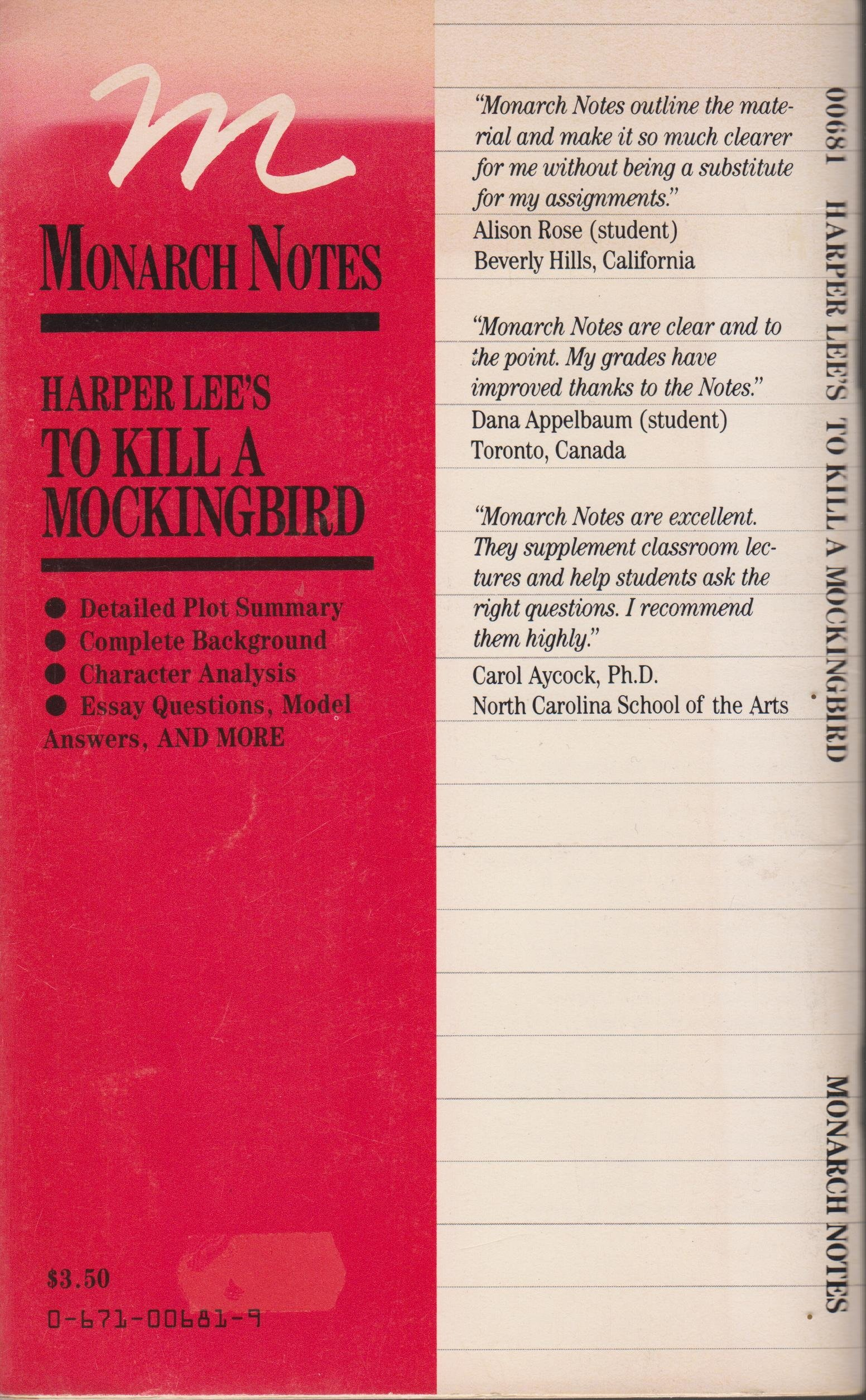com harper lee s to kill a mocking bird monarch notes com harper lee s to kill a mocking bird monarch notes 9780671006815 donald f roden books