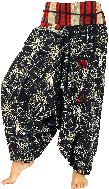 GURU-SHOP, Pantalón Harén Ancho con Cintura Ancha, Negro, Sintético, Tamaño:38, Pantalones Pluderhosen y Aladin