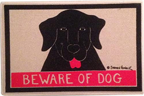 Stephen Huneck Funny Dog Sniffing Beware of Dog Welcome Doormat That Will Make Your Guests Laugh