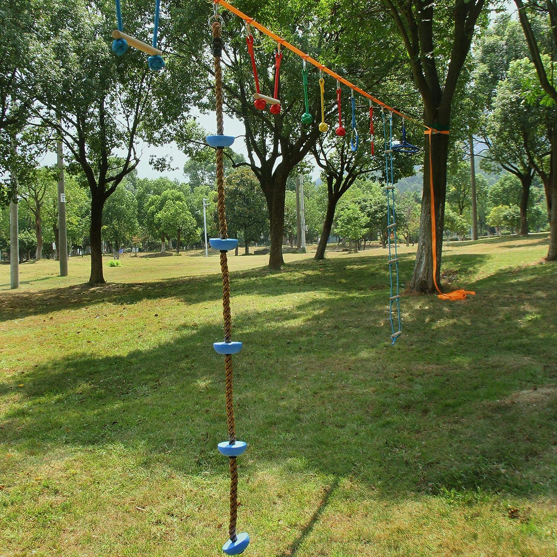 Study /& Anti-Slip Textured Foot Platforms Falpro Ninja Warrior Obstacle Climbing Rope for Kids Backyard Adjustable Hanging Buckles Outdoor Swing Set Accessories for Indoor Playground