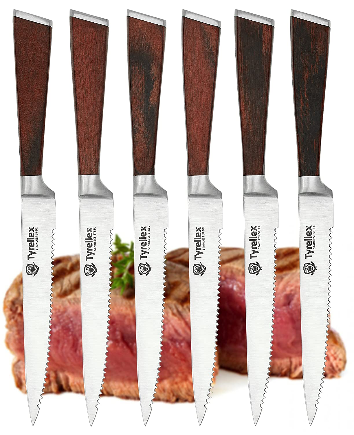 Premium german kitchen manufacturer and creator of the first handle - Amazon Com Tyrellex Steak Knives Premium Steak Knife Set 6 Pieces And Wood Gift Box Kitchen Dining