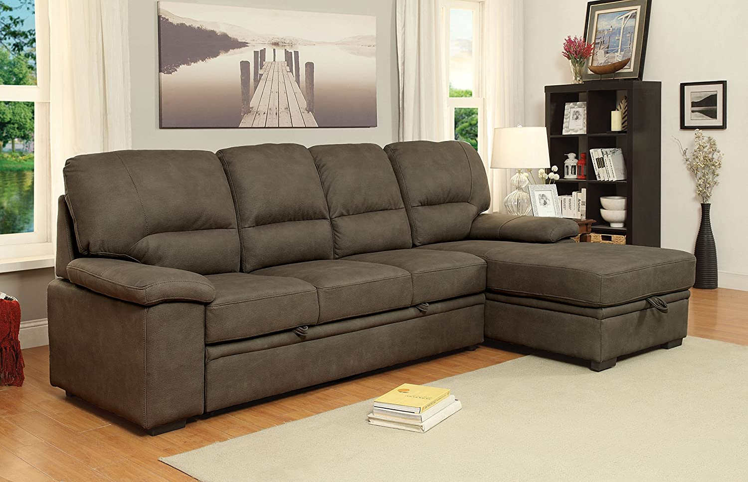 Furniture of America Canby Contemporary Sectional with Sleeper & Chaise, Ash Brown