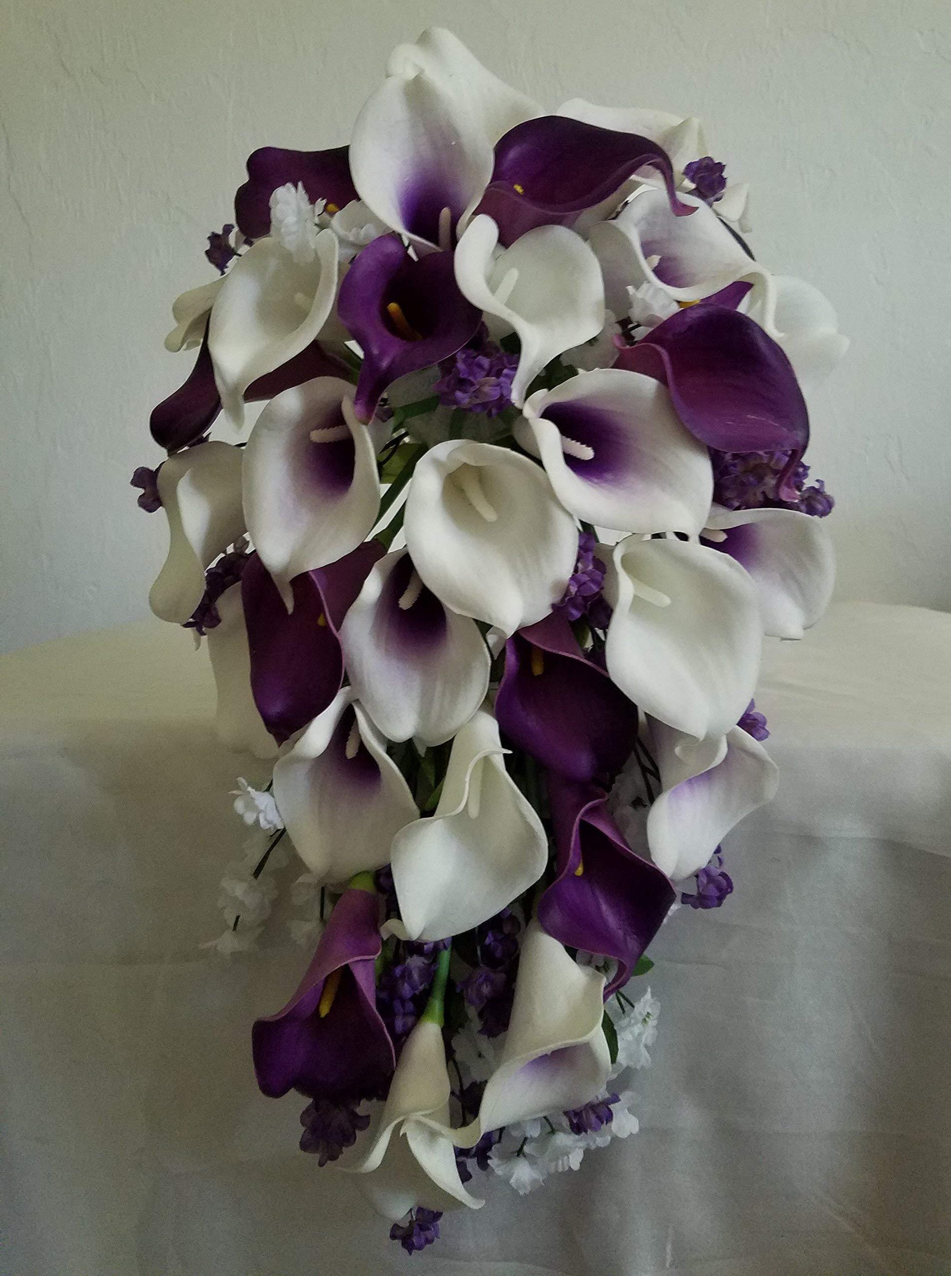 Purple Ivory White Calla Lily Cascading Bridal Wedding Bouquet & Boutonniere by bridalweddingbouquets