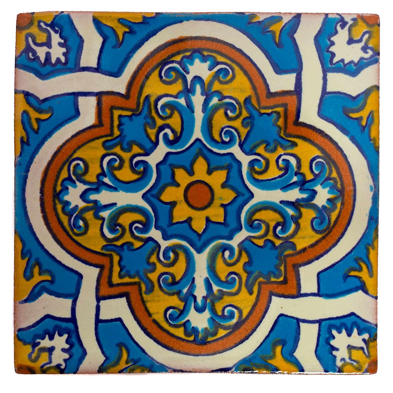 Lot de 10 Carrelage en c/éramique mexicaine fait /à la main et /éthiquement n/égoci/é par Tumia LAC 5 cm