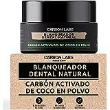 Blanqueador Dental de Carbon Activado de Coco en Polvo -100% Natural - Con Aceite Esencial de Coco, Naranja y Menta - No Caus