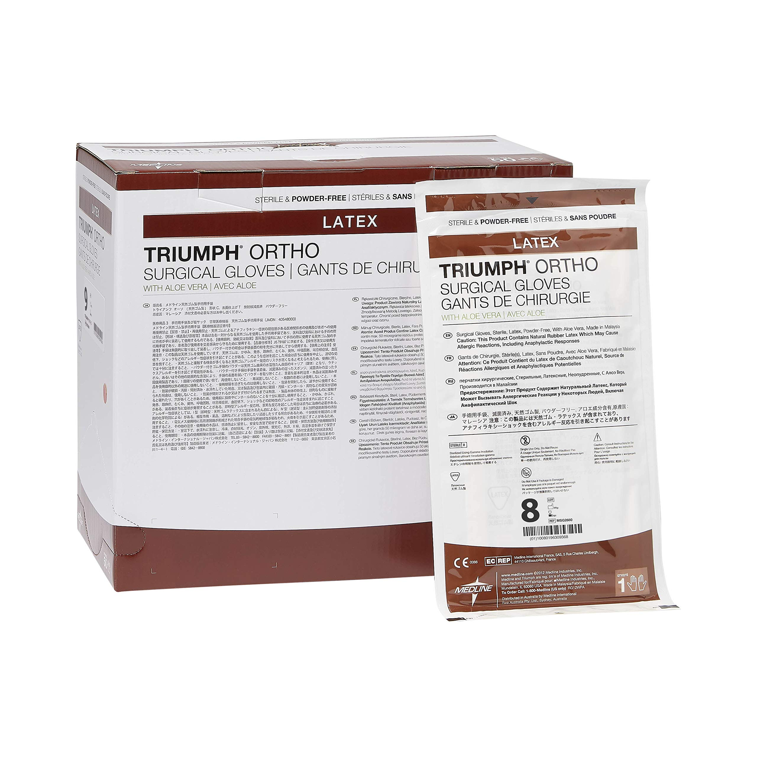 Medline MSG2680 Triumph Ortho with Aloe Sterile and Powder-Free Latex Surgical Glove, Size 8, Brown (Pack of 200)