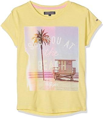 82edd02b98 Tommy Hilfiger Girls SURF Photo CN Knit S/S T-Shirt, Yellow (Sunshine 707),  10 Years: Amazon.co.uk: Clothing