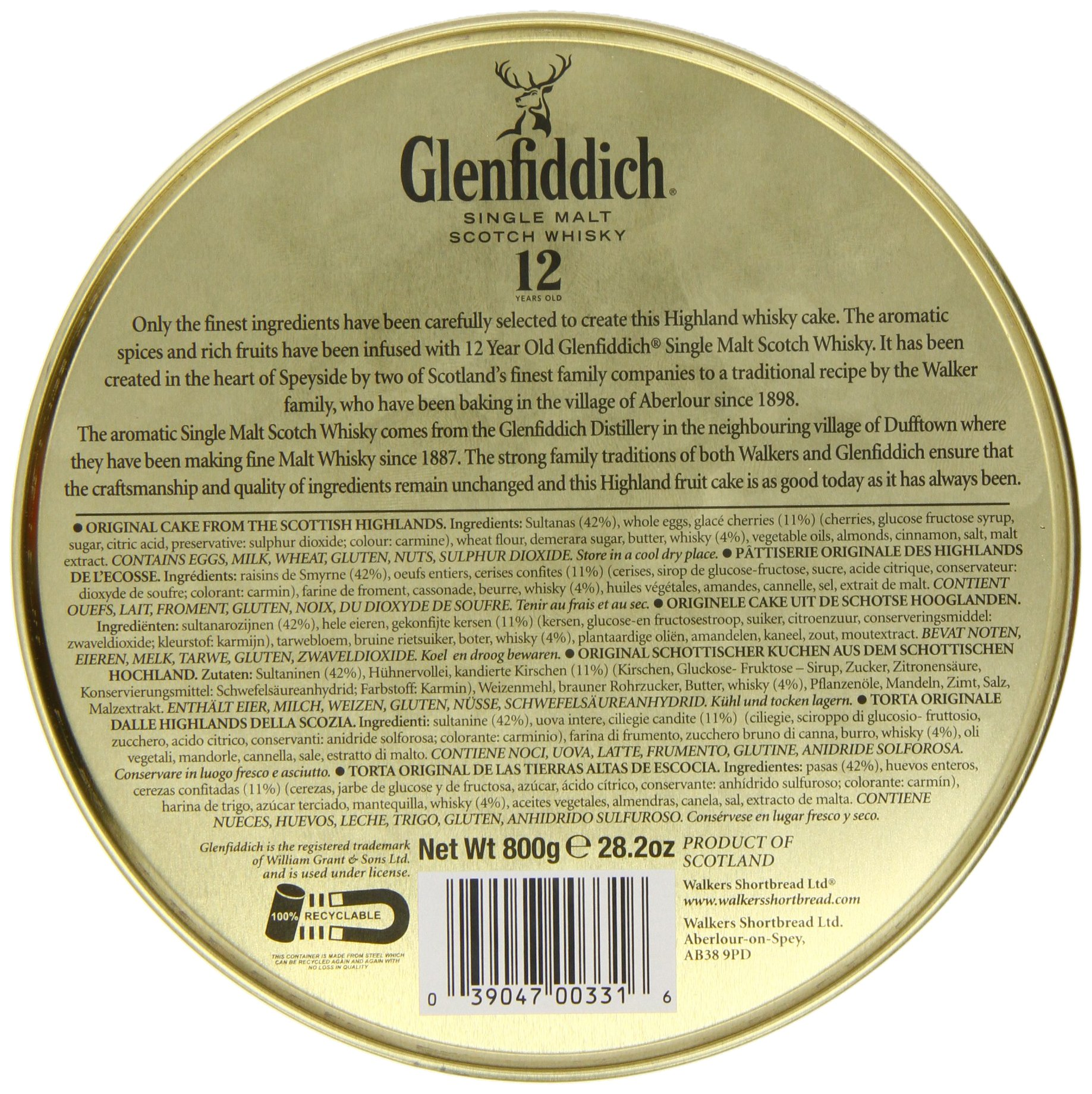 Walkers Shortbread Glenfiddich Highland Whisky Cake, 28.2 Ounce Tin Traditional Scottish Fruit Cake with Glenfiddich Malt Whisky, Cherries, Sultanas by Walkers Shortbread (Image #3)