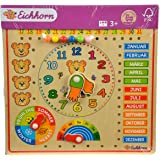 Eichhorn 100005457 - Steckpuzzle Kalenderuhr 30x30cm, unterschiedliche Steckmöglichkeiten, Wand Aufhängemöglichkeit, FSC 100% Zertifiziertes Lindensperrholz