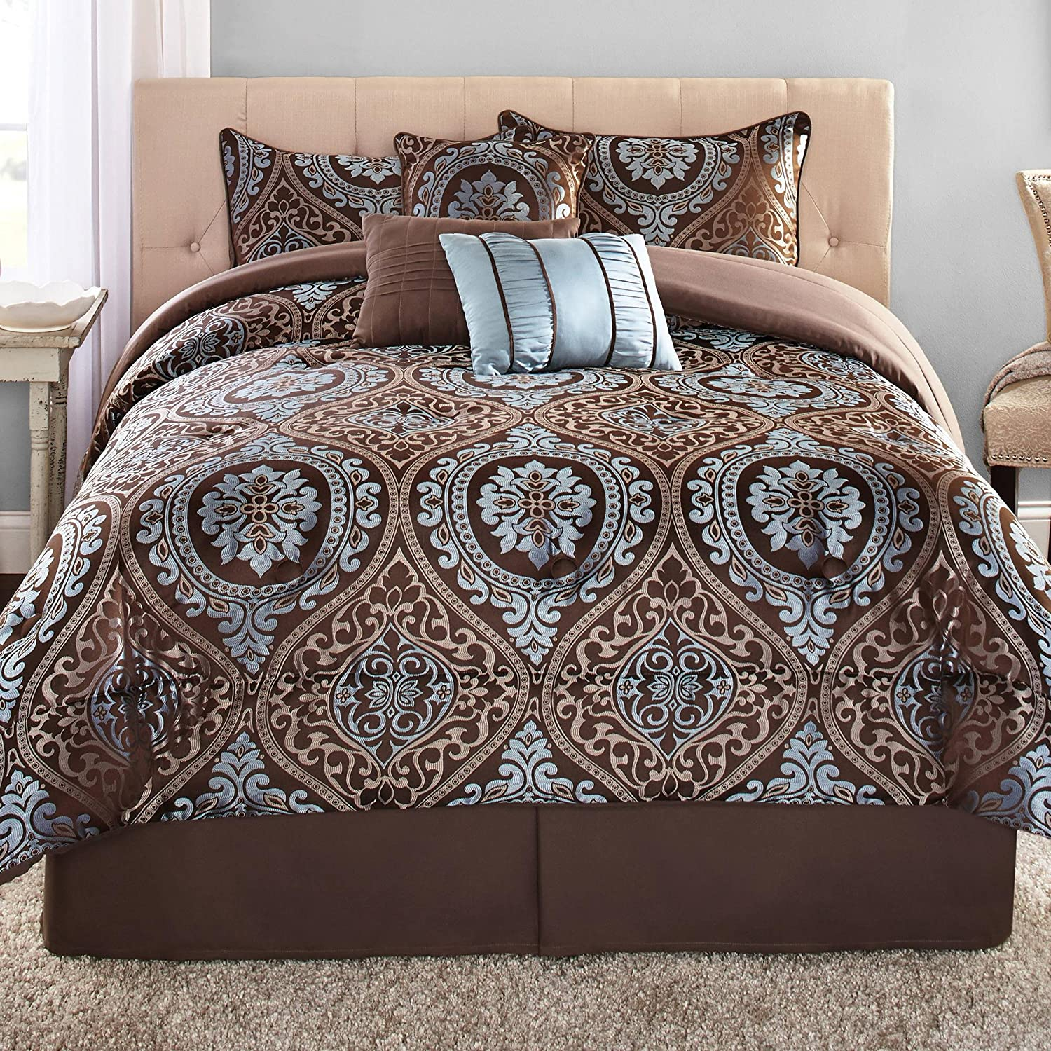 Mainstays Victoria Jacquard 7-Piece Bedding Comforter Set, King
