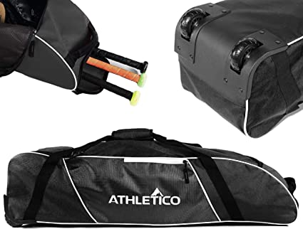 Wheeled Baseball Bat Bag for Baseball Softball Equipment for Youth Kids Athletico Rolling Baseball Bag and Adults TBall