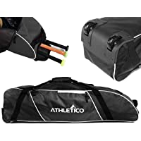 Athletico Rolling Baseball Bag - Wheeled Baseball Bat Bag for Baseball, TBall, Softball Equipment for Youth, Kids, and Adults