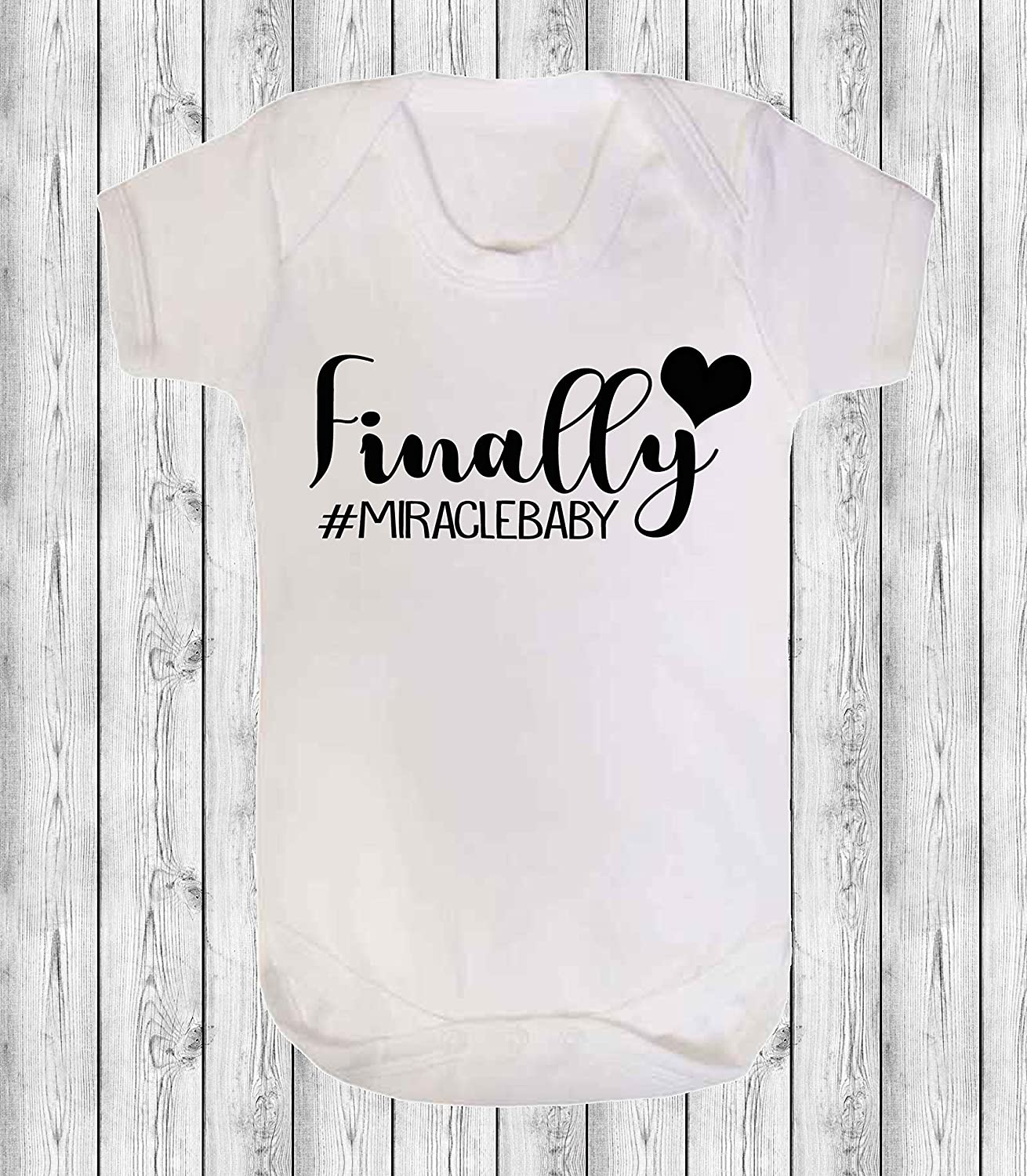 White Miracle Created by Science Baby Vest Babygrow Bodysuit Baby Reveal Pregnancy Annoucment IVF 0-3 Months
