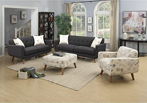 Emerald Home Remix Charcoal Loveseat, with Pillows, Button Tufted Back, Telescoped Wood Legs, And Track Arm