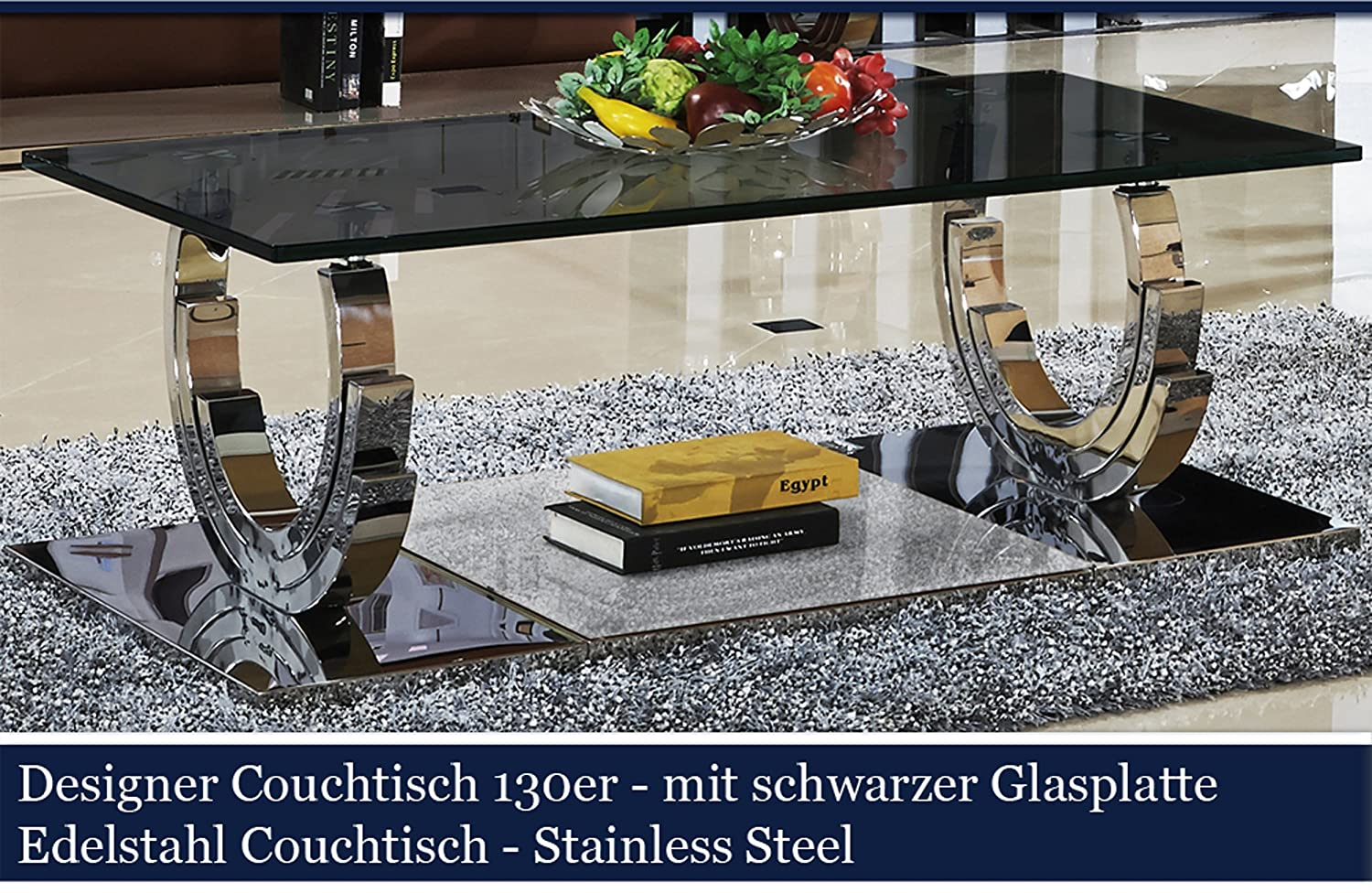 designer couchtisch edelstahl wohnzimmertisch glastisch glas hochglanz schwarzer glasplatte. Black Bedroom Furniture Sets. Home Design Ideas