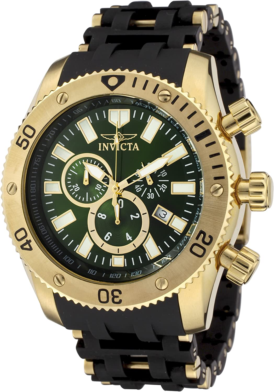 Invicta Men s 0141 Sea Spider Collection Chronograph Green Dial Polyurethane Watch
