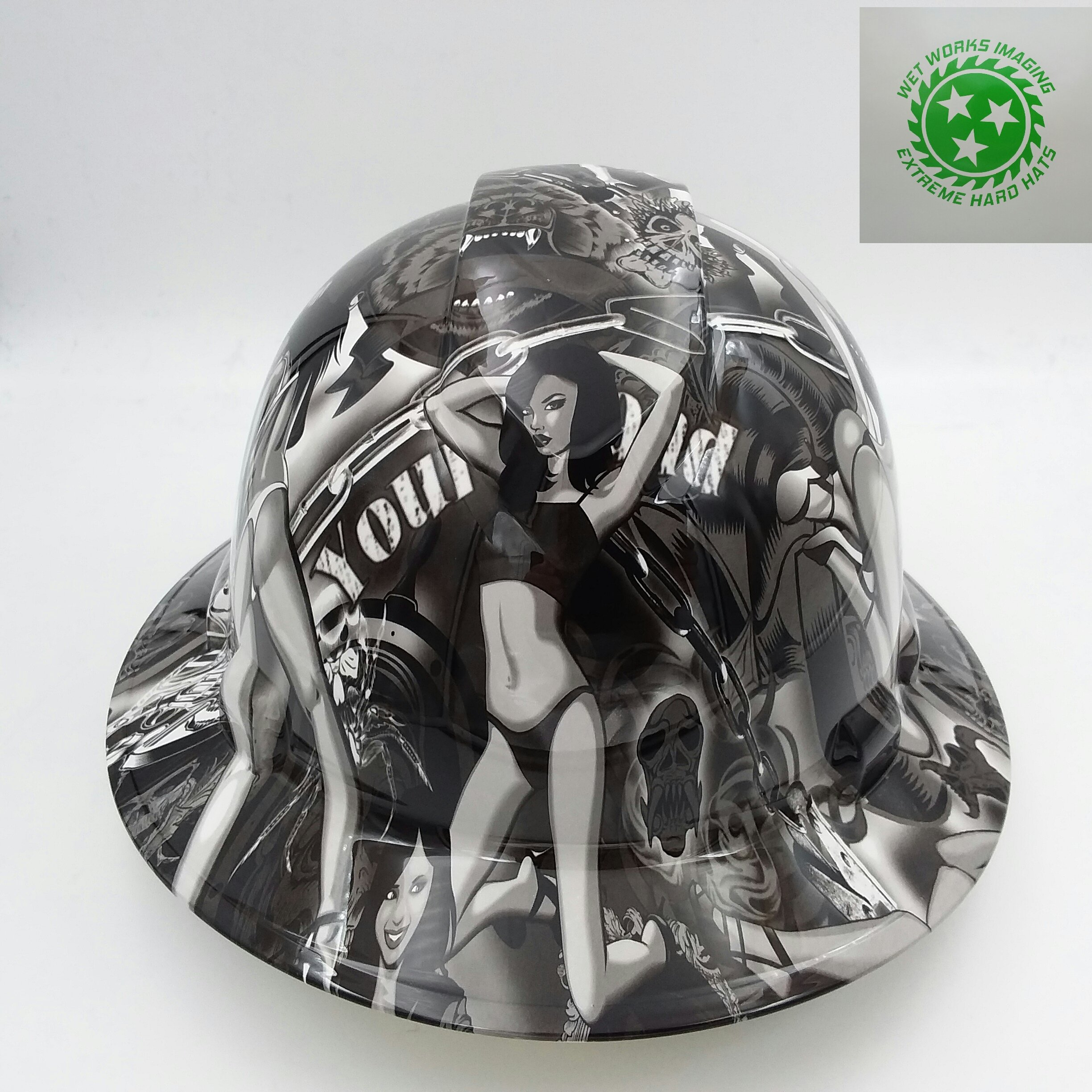 Wet Works Imaging Customized Pyramex Full Brim Biker Babes Hard Hat With Ratcheting Suspension