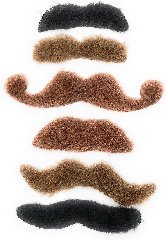 Funiverse 36 Bulk Fake Costume Mustache Assortment Pink, Brown, Black, Green, Blonde