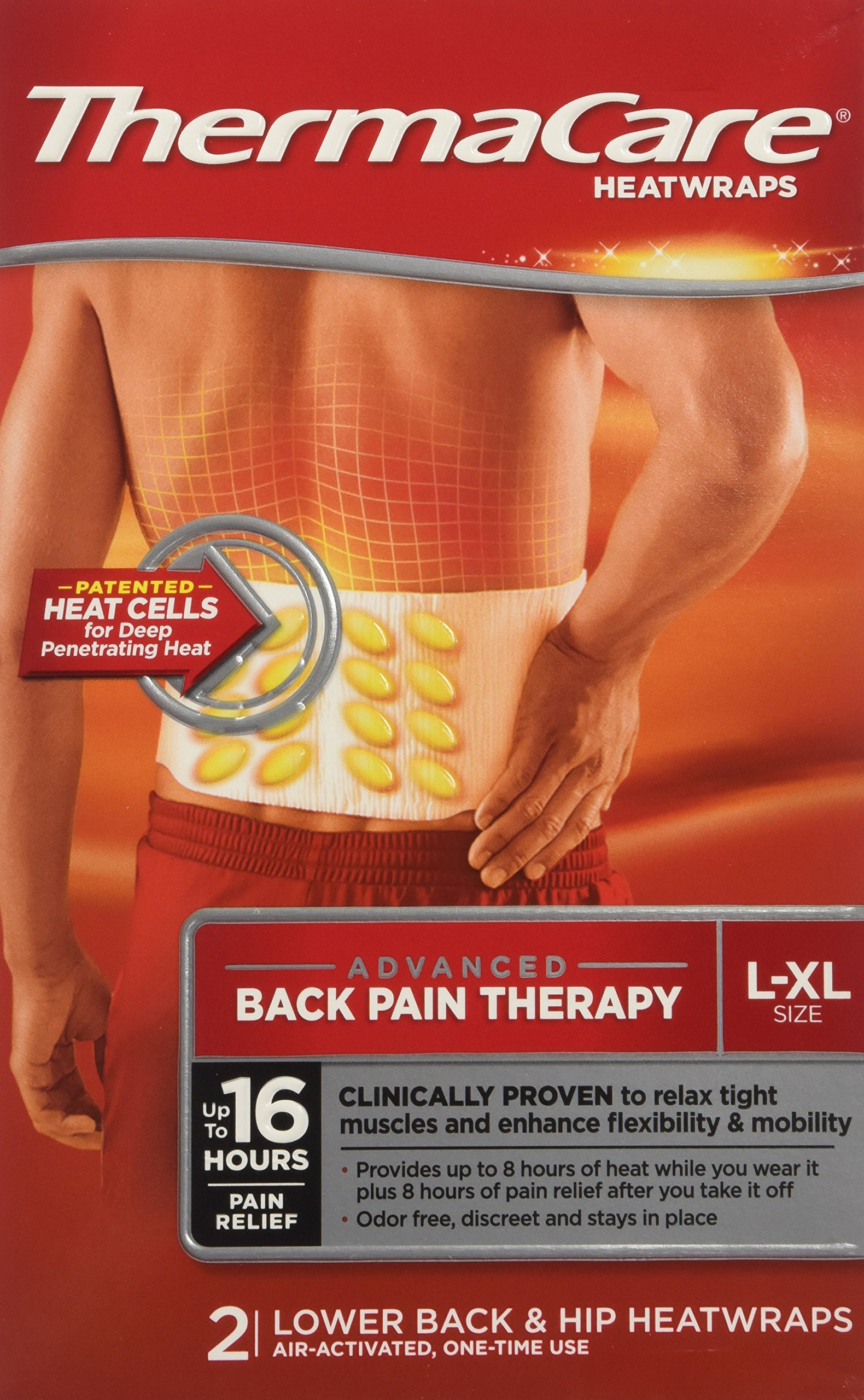 ThermaCare Lower Back & Hip Heat Wraps, Large-XL, Pack of 12 (Packaging May Vary)