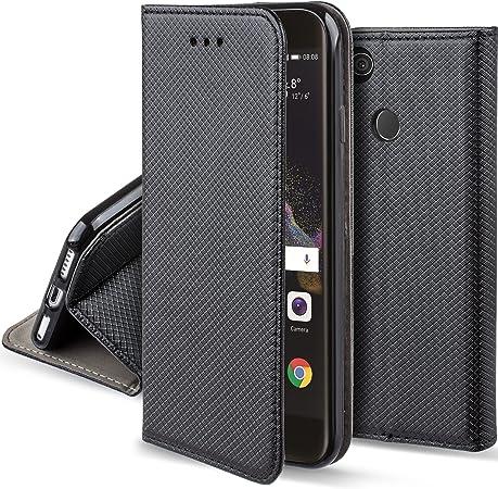 Moozy Cover per Huawei P8 Lite 2017, Nero - Custodia a Libro Flip Smart Magnetica con Appoggio e Porta Carte