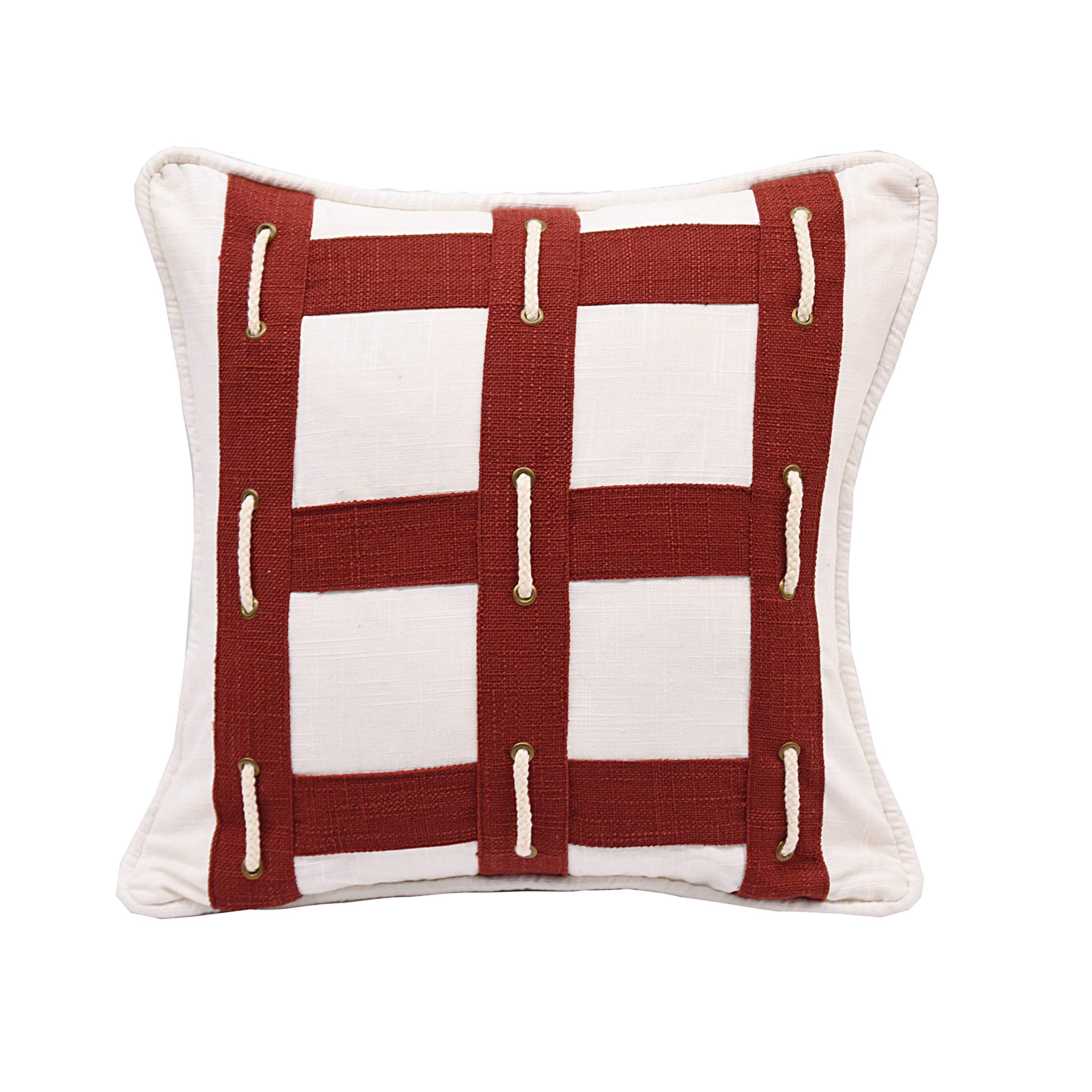 HiEnd Accents Nautical Red & White w/Rope 18'' x 18'' Throw Pillow