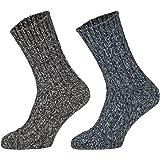 Tobeni 4 Paia di Calzettoni Norvegesi caldi Pre-lavati Calze di Lana Inverno per le Donna e gli Uomo