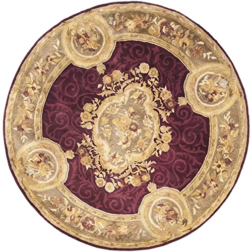 Safavieh Empire Collection EM414A Handmade Traditional European Dark Red and Dark Beige Premium Wool Round Area Rug 3 6 Diameter