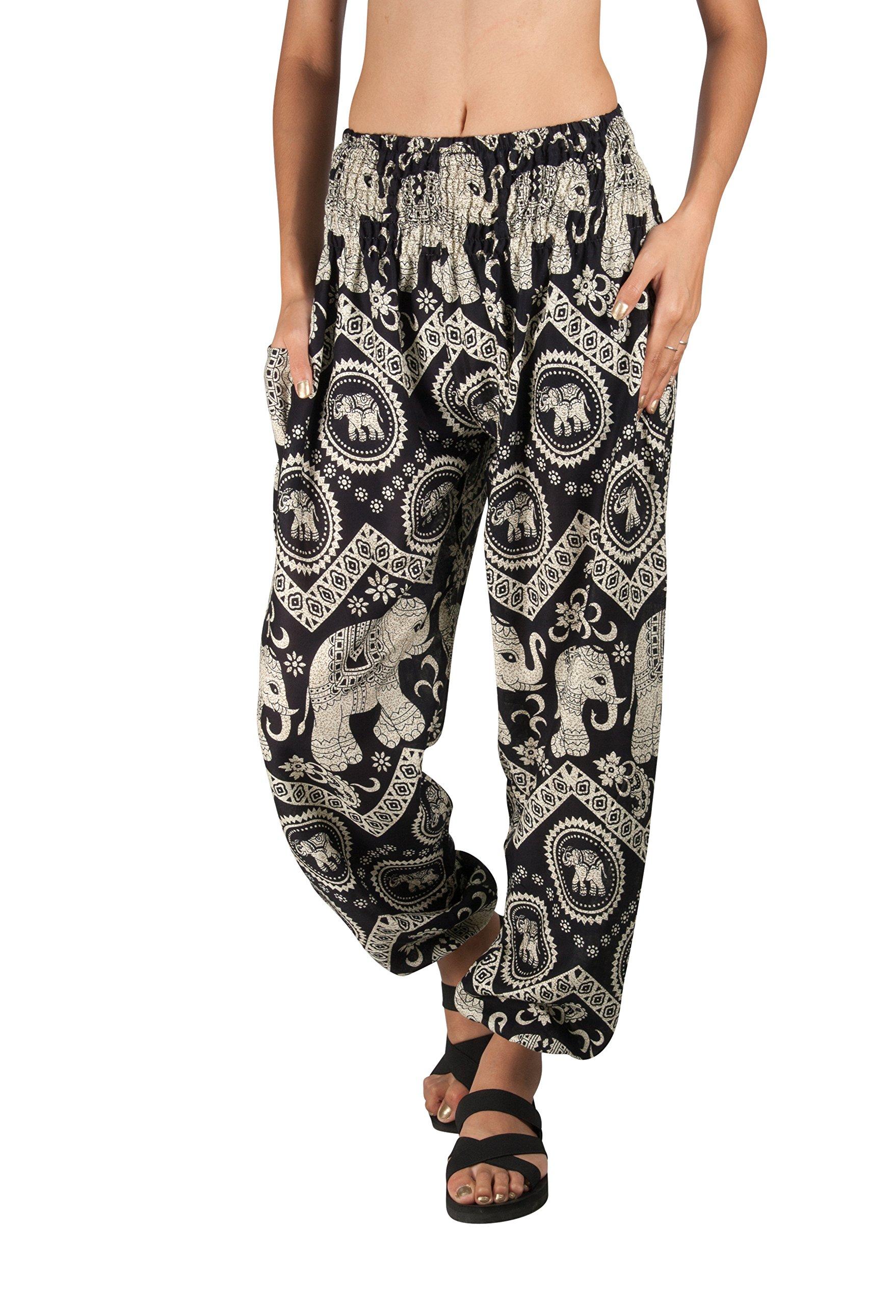 JOOP JOOP BOHEMIAN PRINTED HAREM PANTS,Black,L/XL