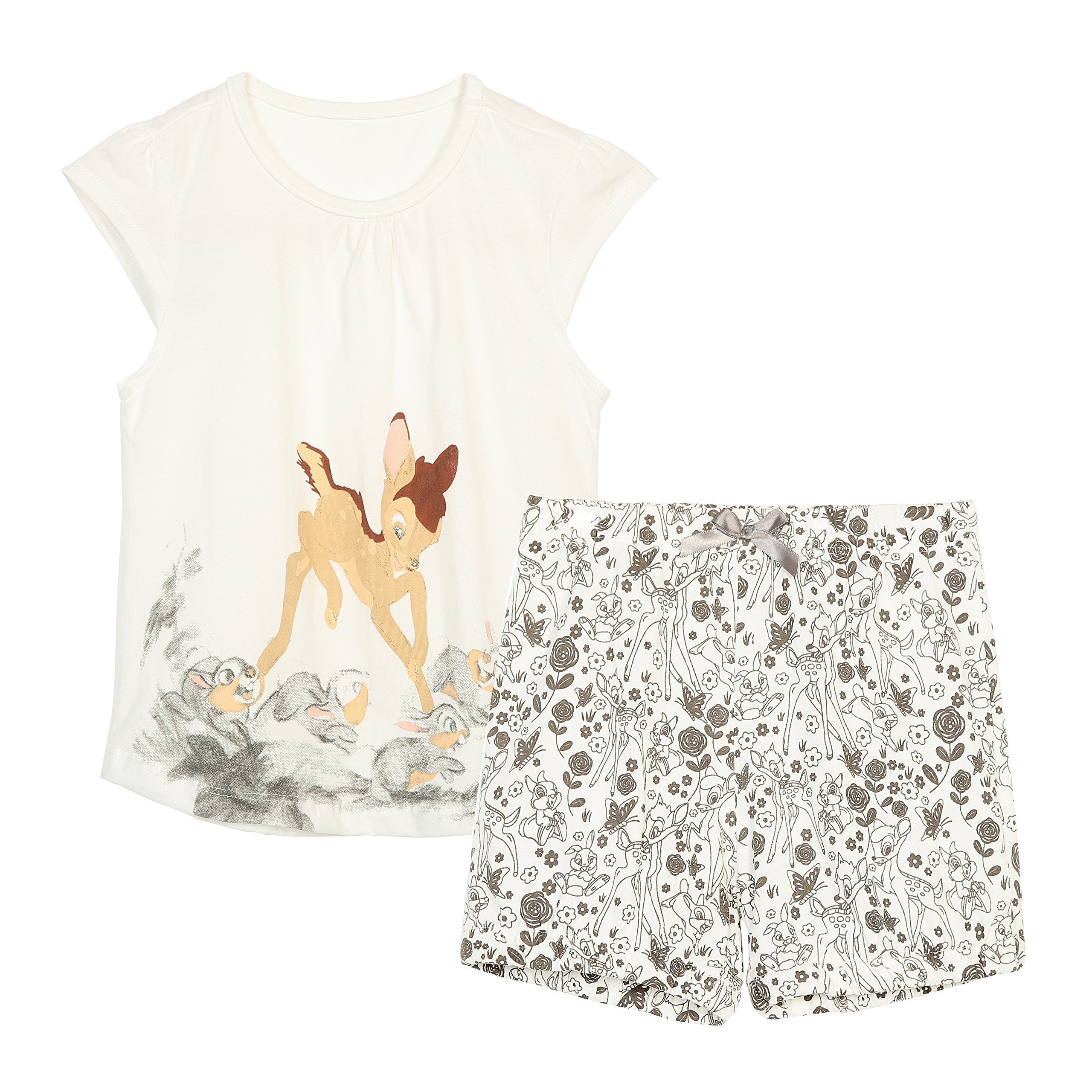 Girls Summer Cotton Short Sets Short Sleeve Cartoon Print T-Shirts + Shorts Beige 4T