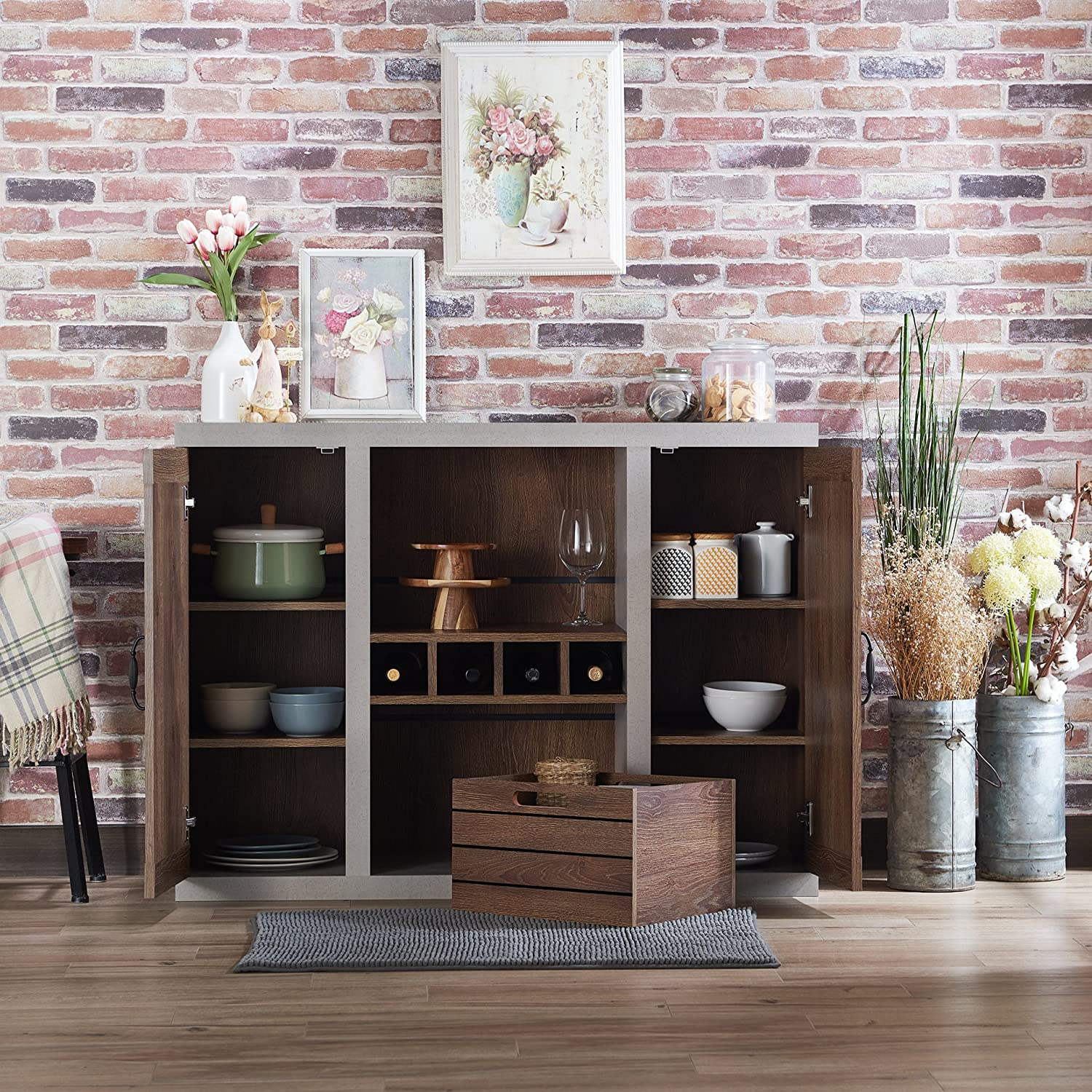 2b034a213c47f HOMES: Inside + Out FGI-1777C1 Cato Industrial Buffet, Black/Cement ...