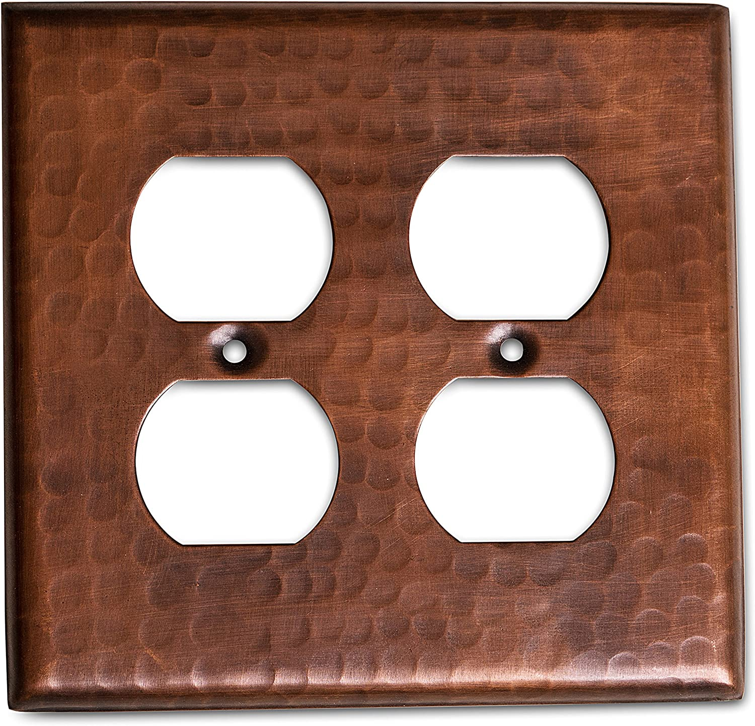 Monarch Pure Copper Hammered Double Duplex Wall Plate / Switch Plate
