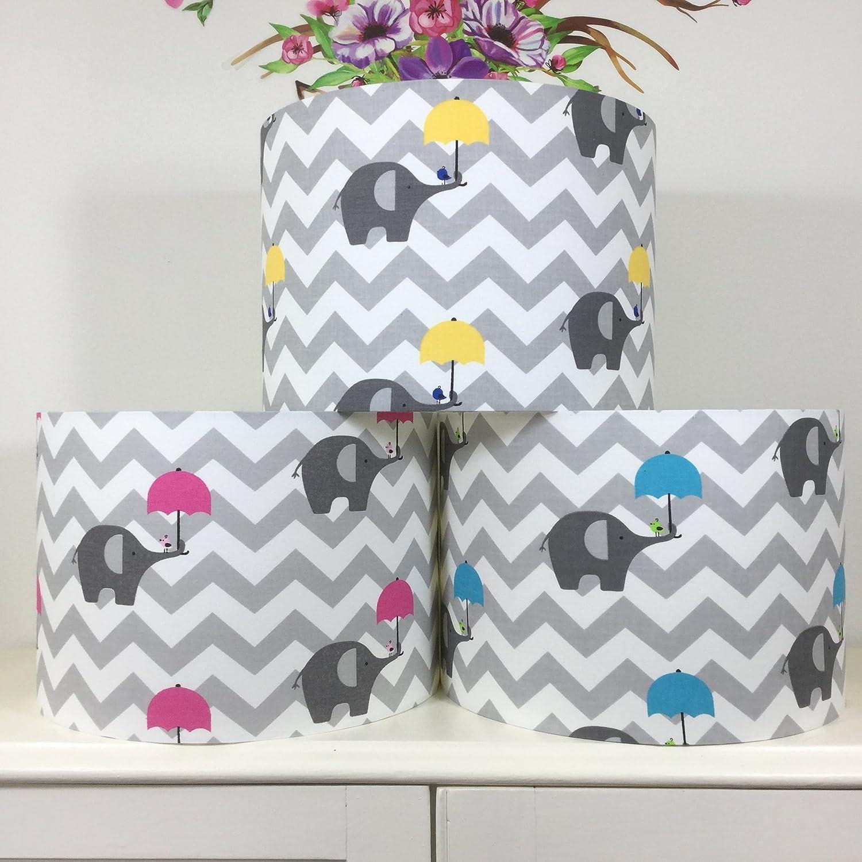 Handmade Grey Nursery Lampshade with Elephants, zigzag, chevron and Pink, Blue, Yellow umbrellas | 20cm, 30cm, 40cm | Table Floor Ceiling light-shades | Children Kids Baby Boys Girls Room Decor