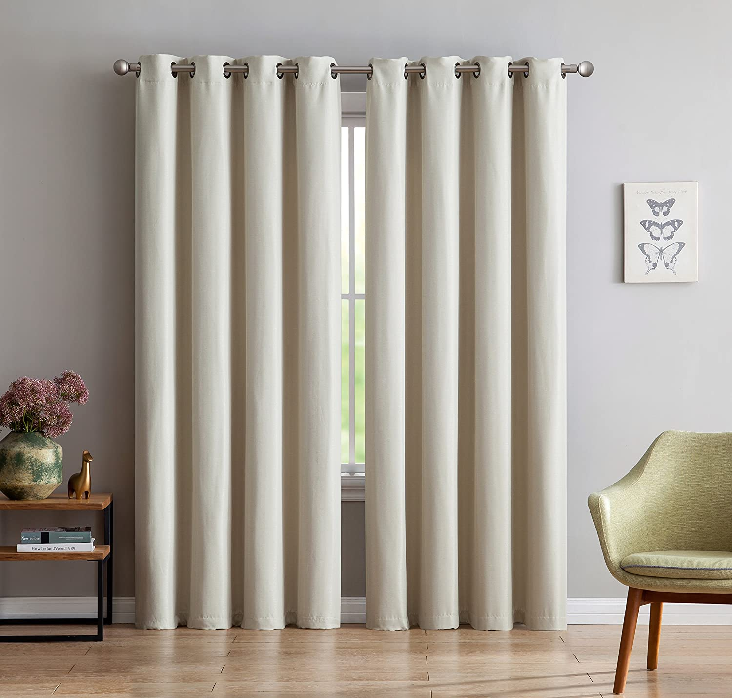 Maya - Premium Textured Thermal Weaved Heavy Duty Blackout Curtain By Linen Source - Energy Efficient - Noise Reduction
